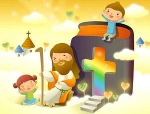 jesus sitting with kids
